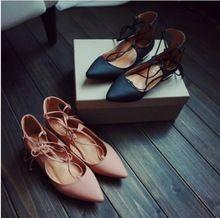 2015 marca nueva desginer punk vendaje gladiador correa cruzada sandalia del dedo del pie puntiagudo de cuero de la pu oxfords mocasines bailarinas rosa(China (Mainland))