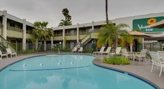 Vagabond Inn San Diego Airport/Marina San Diego This hotel is located on America's Cup Harbor at the entrance to Shelter Island near several of San Diego's attractions, such as Point Loma Seafood Market and the San Diego Zoo.  The Vagabond Inn offers spacious and comfortable rooms.