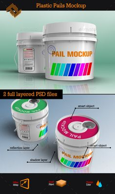 Plastic Pails Container Packaging Mockup #design Buy Now: http://graphicriver.net/item/plastic-pails-container-packaging-mockup/12894124?ref=ksioks