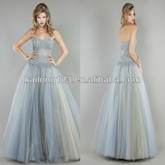 Allure Sweetheart Floral Beaded Sheer Top Floor-length Grey Tulle Ball Gown Puffy Prom Dresses