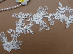 Ivory Alencon Lace Applique, Ivory Beaded Flower Trims, Bridal Hair Accessories, Bridal Applique, Wedding dress décor