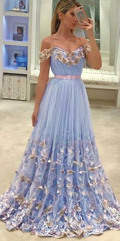 Prom Dress Princess, unique tulle light blue long prom dress, tulle evening dress Shop ball gown prom dresses and gowns and become a princess on prom night. prom ball gowns in every size, from juniors to plus size. Unique Prom Dresses, A Line Prom Dresses, Tulle Prom Dress, Prom Party Dresses, Pretty Dresses, Bridesmaid Dress, Beautiful Dresses, Lace Dress, Tulle Lace