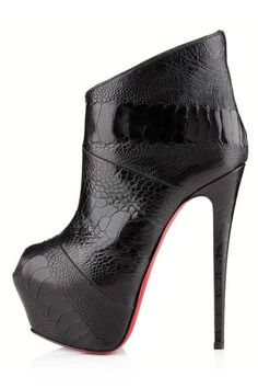 black ostrich ankle boots by louboutin - gorgeous, love the contrasting textures #shoeporn