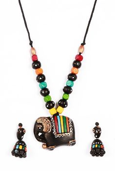 INR 838 Elephant shape #pendant terracotta #necklace with #earrings  #Handcrafted