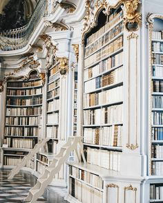 photo library pinkwinged: viennainsider One more picture of the amazing Stift Admont library Nature Architecture, Baroque Architecture, Beautiful Architecture, Library Architecture, Beautiful Library, Dream Library, Book Aesthetic, Aesthetic Pictures, Belle Aesthetic
