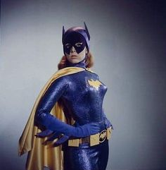 "Yvonne Craig in a camera test for the ""pilot"" version of her Batgirl costume. Note the original mask with the pointy bits, later abandoned for one with rounded edges."