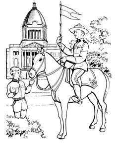 Canada Day - Royal Canadian Mounted Police Coloring Pages | HonkingDonkey