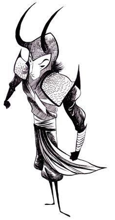 Great perspective and line work on this Loki by Natalie Hall.