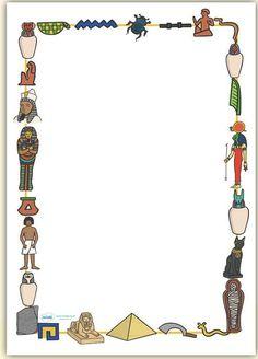RECORTABLES (pintaryjugar)  Haz clic en la imagen.              PLANTILLA PARA COLLAR EGIPCIO.   Haz clic en la imagen.           COLLAR... Ancient Egypt Lessons, Ancient Egypt Activities, History Activities, Ancient History, Page Borders Design, Border Design, Ancient Egypt Hieroglyphics, Egypt Information, Egyptian Drawings