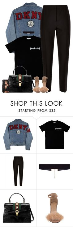 """""""Sans titre #421"""" by lesliekabengele ❤ liked on Polyvore featuring DKNY, Illustrated People, Jaeger, 8 Other Reasons and Gucci"""