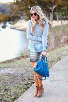 Spring Styling from Lauren Conrad!  [striped pencil skirt + chambray + sweatshirt + ankle boots]