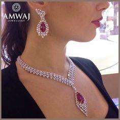 A luxurious and captivating diamond and Burmese Ruby set from Amwaj Jewellery.