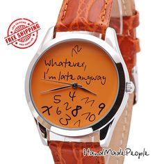 Watch+Whatever+I'm+Late+Anyway+Orange+Mens+Watch+by+HandMadePeople