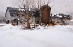 Winter Barn ~ by Mark Boedges Painting Snow, Winter Painting, Gouache Painting, Artist Painting, Watercolor Paintings, Watercolors, Traditional Landscape, Traditional Paintings, Traditional Art