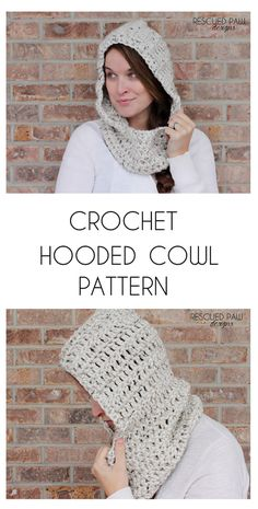 Use this hooded scarf crochet pattern to make your very own crochet hooded cowl today! This FREE cowl pattern is worked up with simple stitches. Crochet Hooded Cowl, Crochet Cowl Free Pattern, Crochet Gratis, Crochet Beanie, Diy Crochet, Crochet Patterns, Cowl Patterns, Crochet Cowls, Crochet Mandala