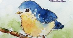 Whimsical baby bird in watercolor on Strathmore paper.
