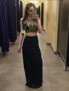 Black Two Pieces Evening Prom Dresses, Sexy Gold Beaded Party Prom Dress, Custom Long Prom Dresses, Cheap Formal Prom Dresses, 17067