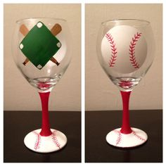 This design is also available on a beer mug! Handpainted baseball wine glass by CrystalsGlassDesigns on Etsy, $20.00