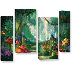 ArtWall Philip Straub Hidden Treasure 4-Piece Gallery-wrapped Canvas Staggered Set, Size: 36 x 54, White