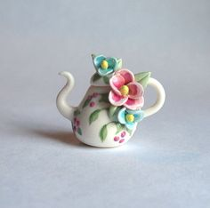Miniature Lovely Blossoms Teapot OOAK by C. by ArtisticSpirit