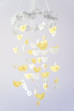 Yellow Grey Nursery Nursery Mobile, Shower Gift, Photographer Prop