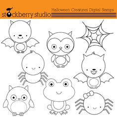 Halloween Critturs Digital Stamps