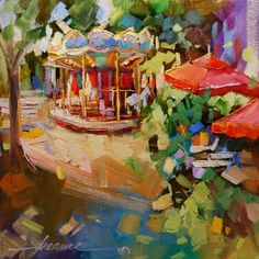 """""""A Very Merry-Go-Round in France""""  painting by Dreama Tolle Perry"""
