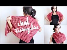 chal triangular FACIL a crochet - tutorial paso a paso, chal tejido en punto red (malla, encaje) - YouTube