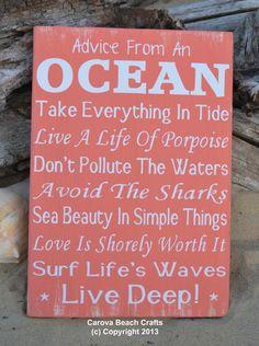 Beach Decor Advice Ocean Sign Coastal Decor by CarovaBeachCrafts