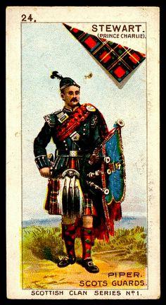 Piper Scots Guards, Stewart (Prince Charlie) Clan, Scottish Clan Series.   Cigarette Card.                               suzilove.com