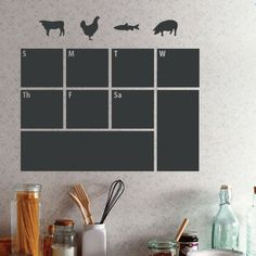 Plan out your grocery lists and dinner menus for the week with this essential wall decal, showcasing a calendar block design.  Produ...