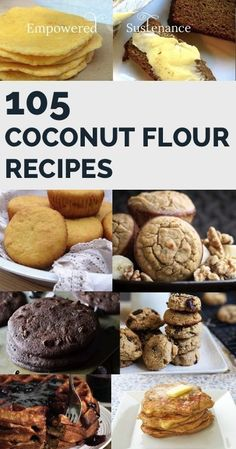 Coconut flour recipes for everything including breads, muffins, cookies, cakes, biscuits benefits of coconut flour. Low Carb Desserts, Low Carb Recipes, Cooking Recipes, Vegetarian Cooking, Dessert Sans Gluten, Paleo Dessert, Healthy Sweets, Healthy Baking, Healthy Meals