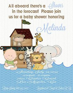 noah's ark baby shower invitations | ... Party Designs - Noah's Ark Baby Shower…