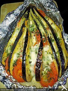 Gebackene Auberginen Baked aubergines – also delicious with zucchini instead eggplant :] Low Carb Recipes, Soup Recipes, Vegetarian Recipes, Dinner Recipes, Cooking Recipes, Healthy Recipes, Grilling Recipes, Baked Eggplant, Eggplant Zucchini