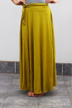 Half-circle maxi skirt.  Flowy (not straighter like a lot of patterns), easy waistband, tied waist, and super easy pattern with lots of pictures.
