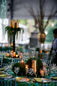Moss Spheres, Aqua Blue and Gold Candles {Rittenhouse Ball on The Square, Evantine Design, Photo: Marie Labbancz}
