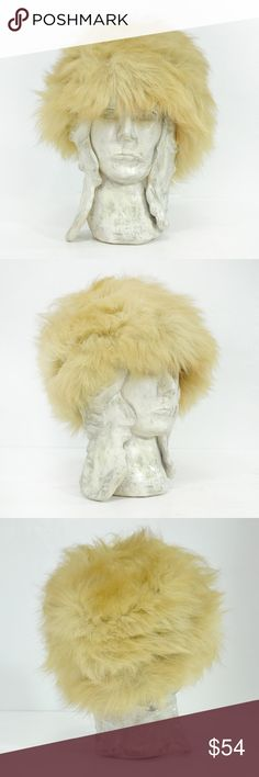 """vintage fur hat   vintage 1960s fur pill-box hat Dramatic vintage 1960s fluffy fox fur pill-box hat with brown lining.   -MEASUREMENTS- Inner Brim Circumference: 22""""   56cm Depth: 4.5""""   11.4cm  Brand   Maker: Westbury, New York Condition: good, one side on the interior edge has makeup staining/or hair dye stains, please reference the last photograph Vintage Accessories Hats"""