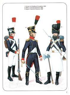 Soldato del 1 rgt. tiragliatori granatieri, ufficiale e zappatore dei coscritti cacciatori