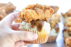"Savory Cupcake Recipe: Cornbread ""cupcake"" with mashed potato and gravy ""frosting"" topped with fried chicken."