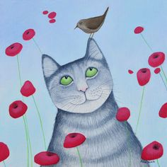 An online gallery of Scottish Art showing a selection of paintings by Scottish Artist Ailsa Black I Love Cats, Crazy Cats, Son Chat, Big Love, Pet Gifts, Online Gallery, Poppies, Arts And Crafts, Kids Rugs