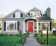 red front door + grey siding + black shutters + white trim