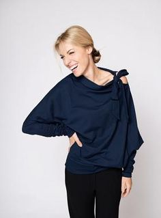 LeMuse Deep Blue Blouse with a Bow on the Shoulder