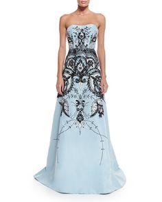 W08B3 Carolina Herrera Strapless Embroidered Gown, Baby Blue