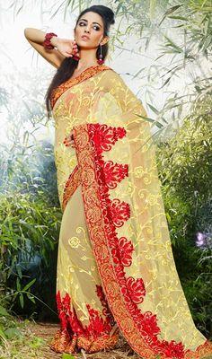 Mesmerizing Cream Net Embroidered Saree Price: Usa Dollar $102, British UK Pound £60, Euro75, Canada CA$109 , Indian Rs5508.
