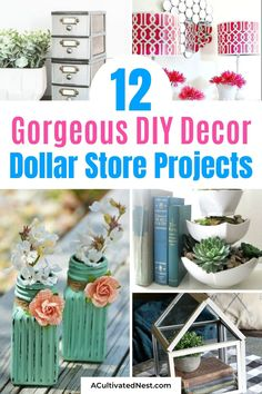 12 DIY Dollar Store Home Decorating Projects- For some beautiful home décor on a budget, you should check out these 12 gorgeous DIY décor dollar store projects! | DIY home decorating ideas, decorating on a budget #diyProjects #dollarStoreDIY #dollarStoreDecor #crafts #ACultivatedNest Home Crafts, Crafts To Make, Easy Crafts, Diy Home Decor, Dollar Store Crafts, Dollar Stores, Diy Décoration, Easy Diy, Craft Projects For Kids