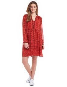 Whistle Long-Sleeve Tile Print Dress, Red product photo Dress Red, Women's Fashion Dresses, Dress For You, Dresses Online, Tile, Womens Fashion, Long Sleeve, Sweaters, Shopping