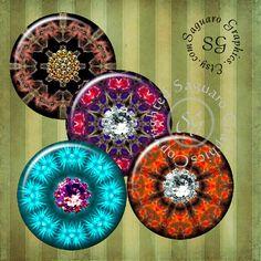 Gems Kaleidoscope Art  Digital Collage Sheets by SaguaroGraphics, $4.50