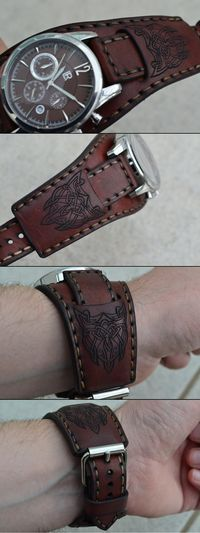 Leather watch strap, engraved with Celtic figures Leather Carving, Leather Art, Saddle Leather, Leather Cuffs, Leather Tooling, Leather Jewelry, Leather Wallet, Custom Leather, Handmade Leather