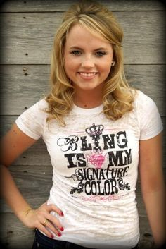 Ali Dee Collection - Bling Is My Signature Color tee, $49.00 (http://www.alideecollection.com/bling-is-my-signature-color-tee/)