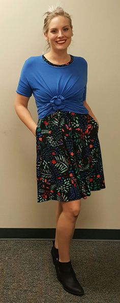 LuLaRoe Irma over an Amelia turns your dress into a skirt - with pockets! Find out more and shop for similar on Facebook LuLaRoe Southern Belles #lularoe #lularoeirma #lularoeamelia #layering